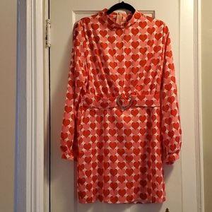 Heart print long sleeve dress